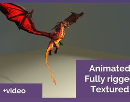 animated Fully rigged Animated Textured Lava Dragon