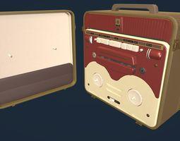 3D model MG56 Retro Bobbin Tape Recorder Lowpoly