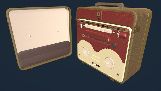 mg56 retro bobbin tape recorder lowpoly 3d model low-poly fbx blend unitypackage prefab 1