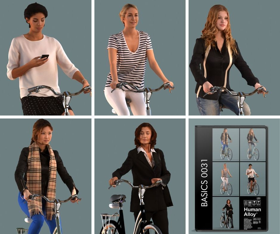 set of  3D women on bicycles low-poly 3D models