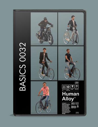 set of  3d men on bicycles or motor cycle low-poly 3d models 3d model low-poly max obj mtl fbx skp 1