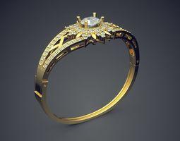3d printable model vintage unique bracelet with diamond and ornaments