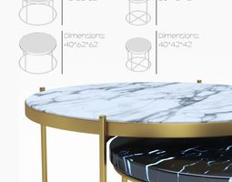 3D Marble table set