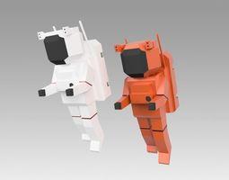 Astronaut set 3D asset rigged