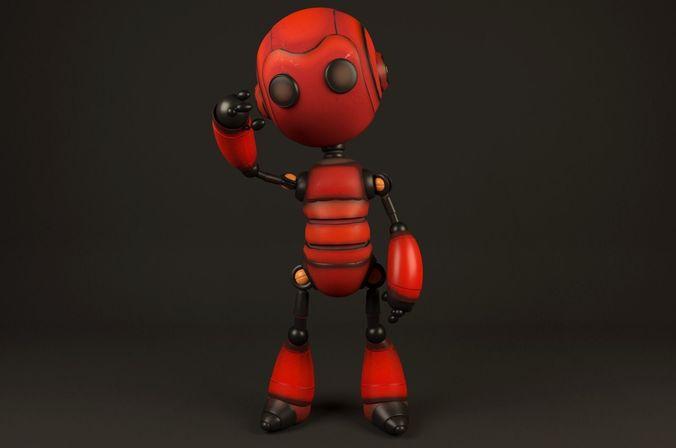 red robot 3d model low-poly rigged max obj mtl fbx c4d ma mb 1