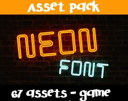 VR / AR ready Neon Font - 67 Assets