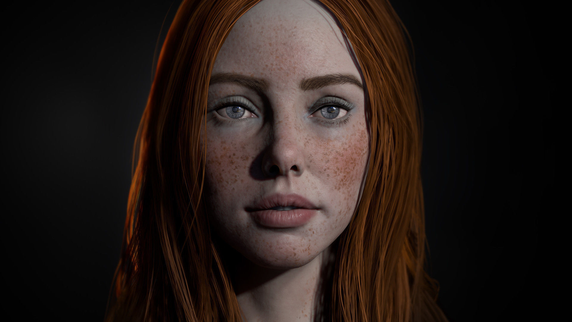 Realistic female real-time head