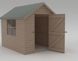 Domestic Garden Shed 3D model rigged