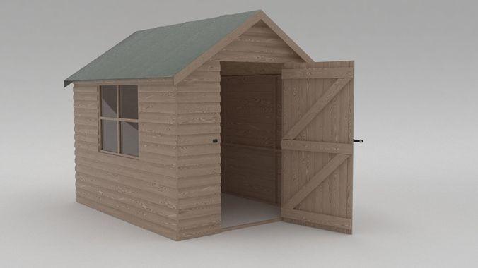 domestic garden shed 3d model max obj mtl fbx 1