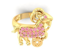 519 Gold Goat Ring with diamonds 3D printable model