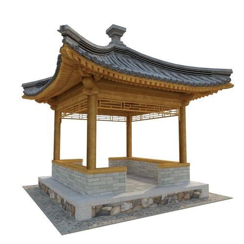 four corner pavilion 3d model low-poly max obj mtl fbx 1