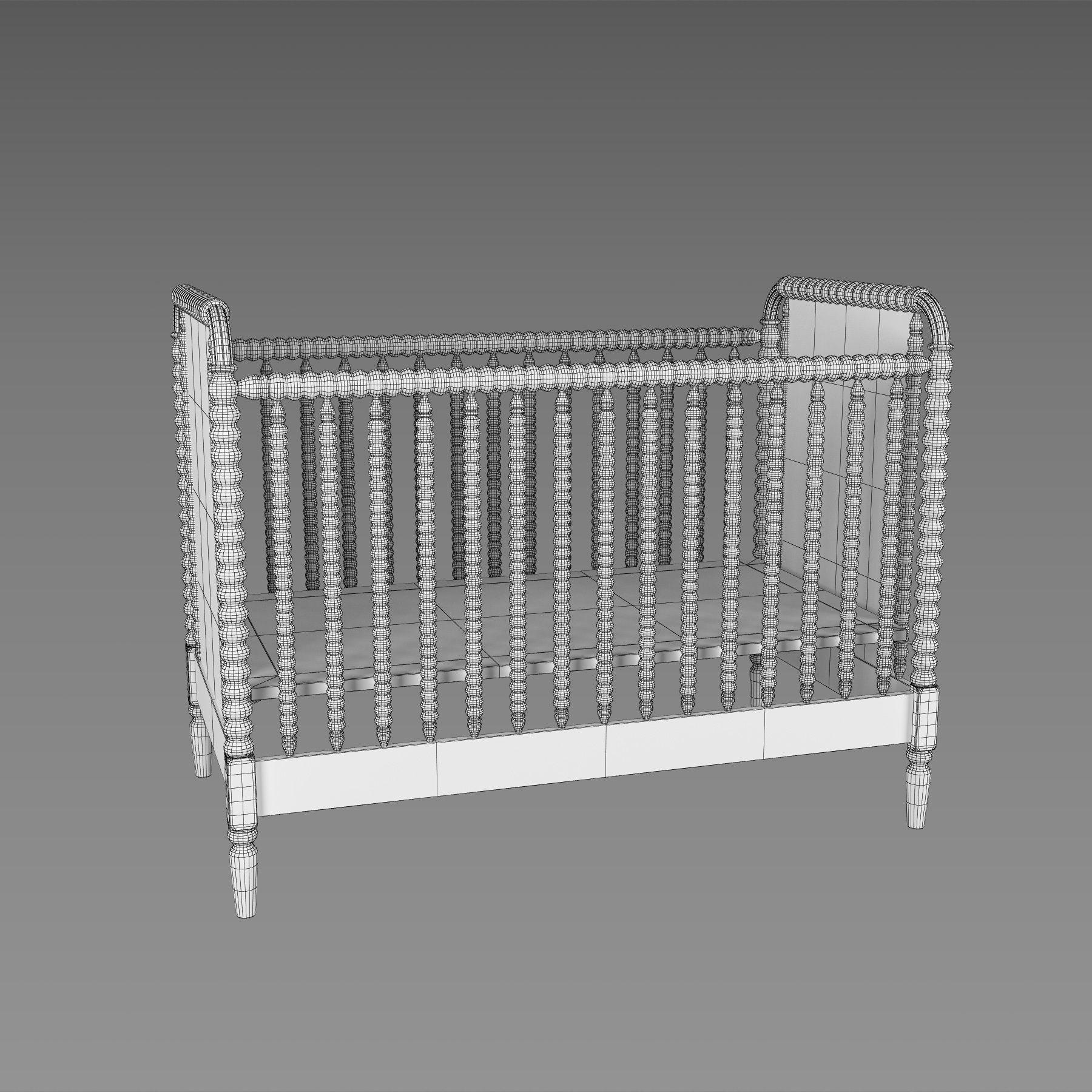 Baby Crib 3D Model Max Obj Fbx Mtl Mat 10