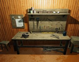 Workbench With Tools 3D asset