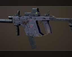 Kriss Vector Highpoly and Lowpoly models PBR 3D asset
