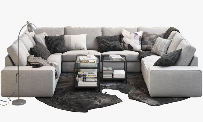 ... Ikea Kivik 7 Seat U Shaped Sofa 3d Model Max Obj 3ds Fbx ...