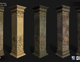 rigged realtime 3d asset column 5in1 collection PBR