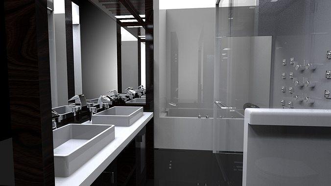 Interior small bath free 3d model for 3d bathroom models