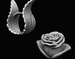 3d print model ring - wings and rose separates