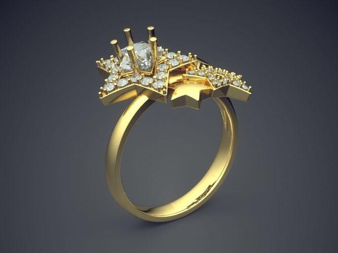 3d Print Model Simple Star Shaped Lovely Engagement Ring 2