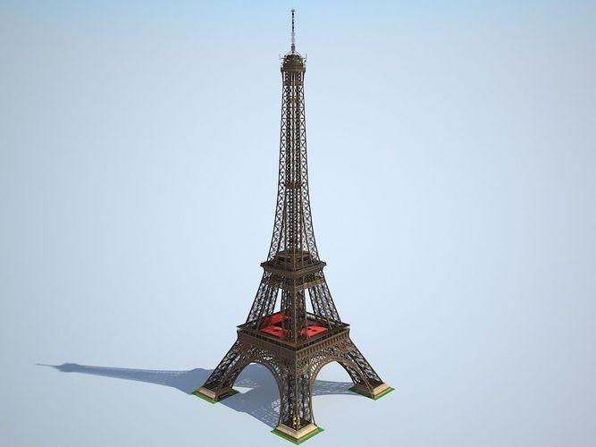 eiffel tower high detailed 3d model max obj mtl 3ds fbx c4d lwo lw lws 1