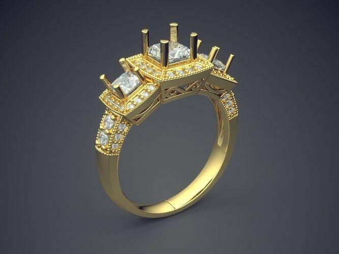 impressive engagement ring with diamonds 3d model obj mtl 3ds fbx stl 3dm 1