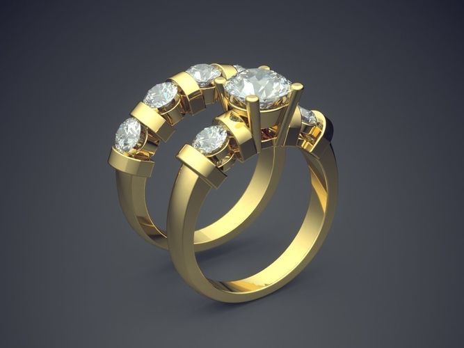 3d Print Model Gorgeous Matching Wedding Rings For Couple