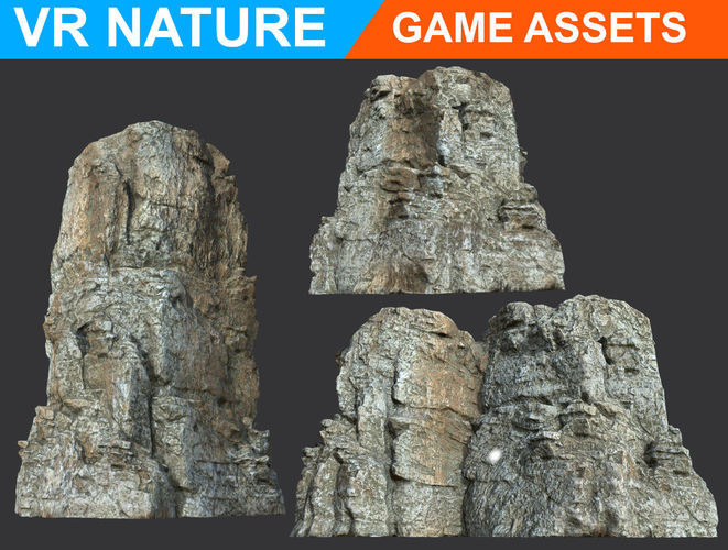 low poly realistic gray cliff modular 180618 3d model low-poly obj mtl 1