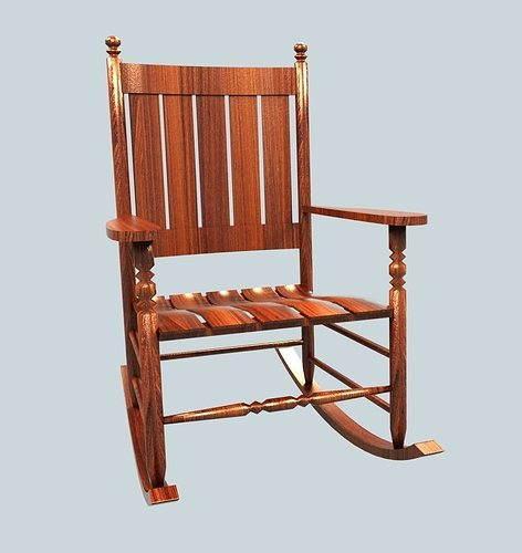 Wooden Rocking Chair free VR / AR / low-poly 3D Model rigged MAX