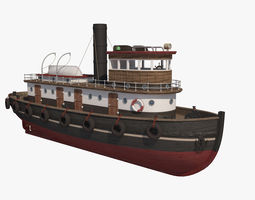 3D Wooden Rat Tugboat