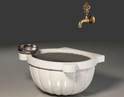 Turkish Bath washbasin tap and bowl 3D model