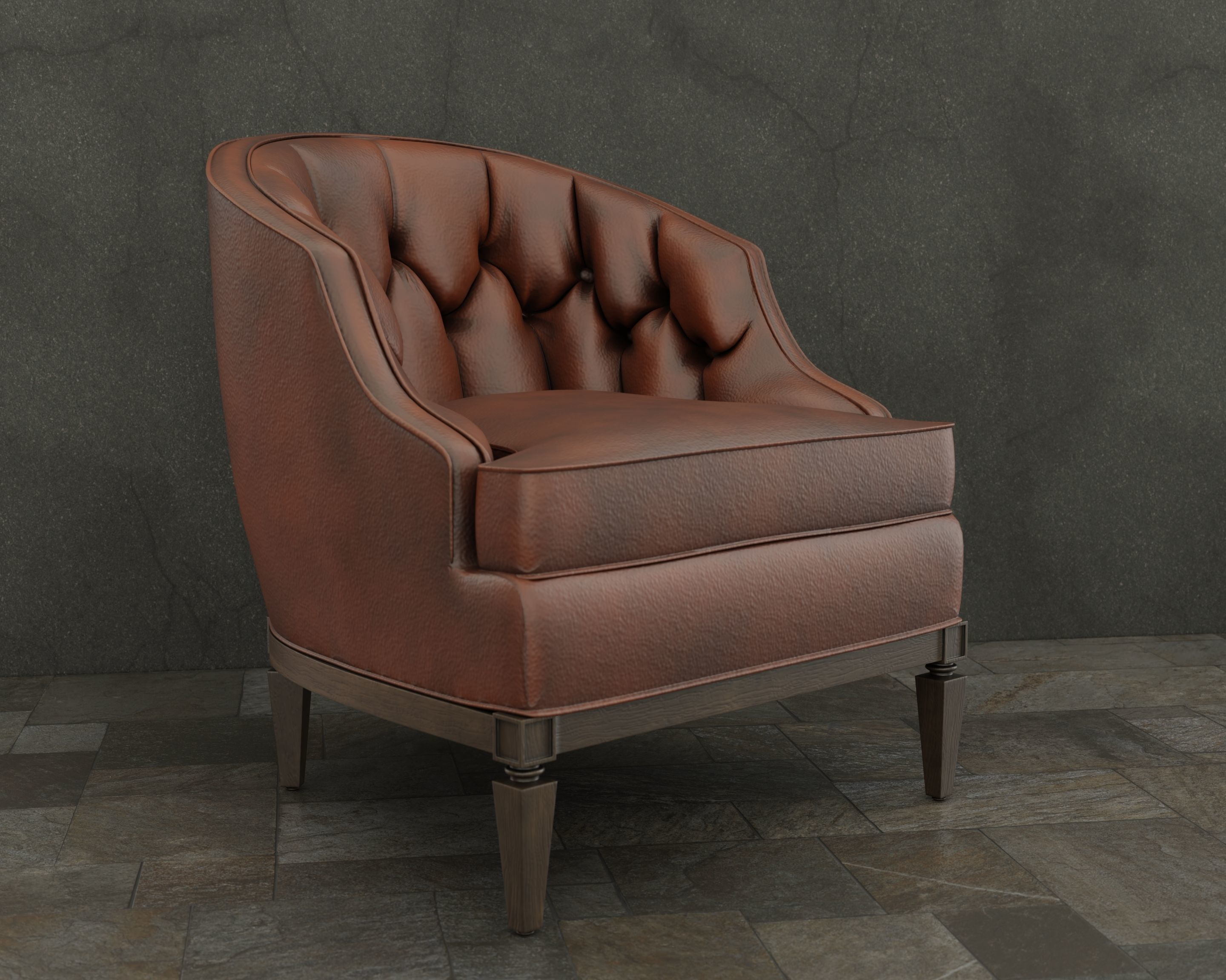 Leather Armchair - for game and visualization 3D model