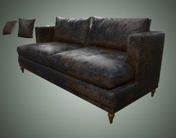 3D asset Dirty sofa