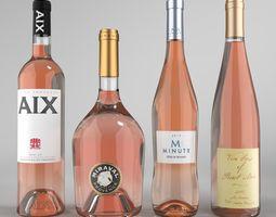 3D Rose Wine Bottle set1 Blender Cycles