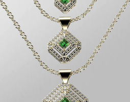 3D print model Emerald Cutted diamond Pendant