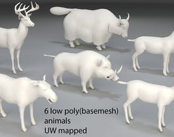 3D asset Animals-6 peaces-low poly-part 6