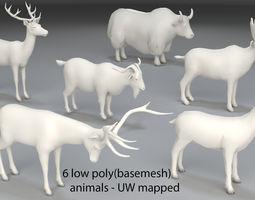 Animals-6 peaces-low poly-part 7 3D model