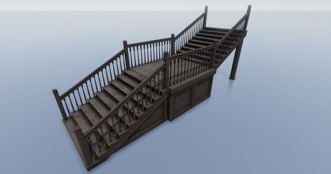 house structure - staircase 3d model low-poly obj mtl fbx tga unitypackage prefab 1