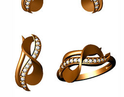 diamond gold ring 3d print model jewelry
