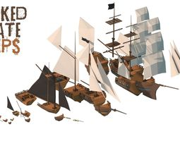 3D asset Wrecked Pirate Ships