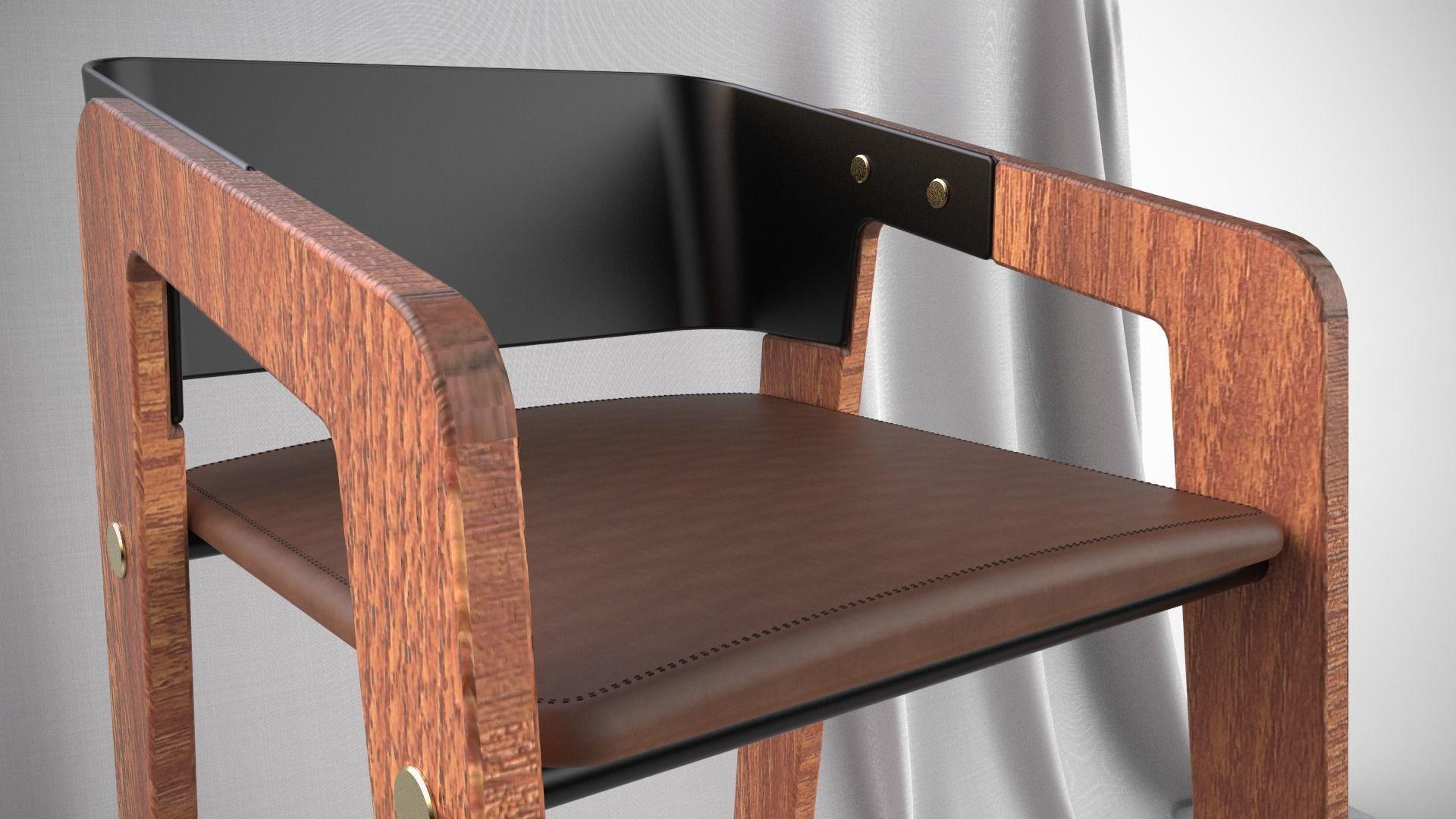Mid Century Modern Design Bar Stool Scandinavian Design 3D Model Obj