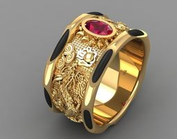 3D print model 571 Dragon Gold Ring