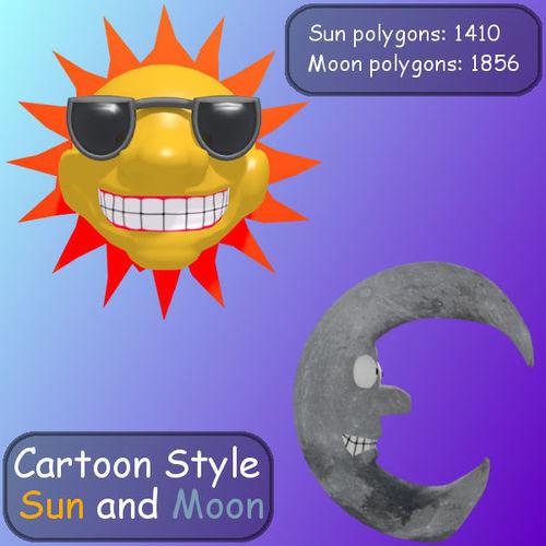 Cartoon Style Sun And Moon