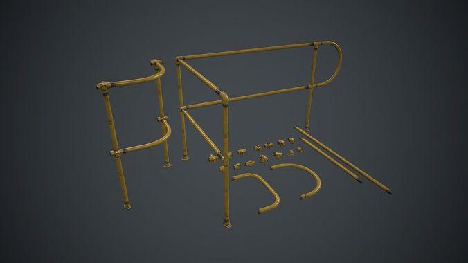 modular handrails pbr game ready 3d model low-poly max obj mtl fbx 1