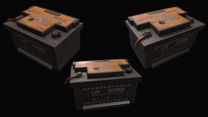 battery 3d model low-poly obj mtl fbx tga 1