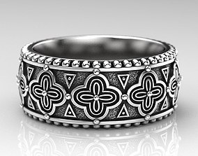 3D printable model Stylish ring with antique patterns 225