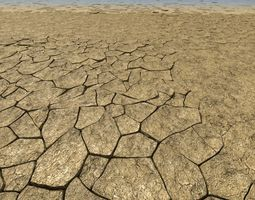 cracked dry earth animated 3d model max