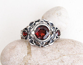 Ring with three stones printable jewelry model