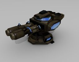 3D model Sci-fi Low-poly Cannon Turret