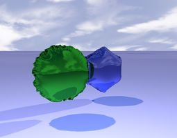 mylar balloon in green magenta and blue 3D model