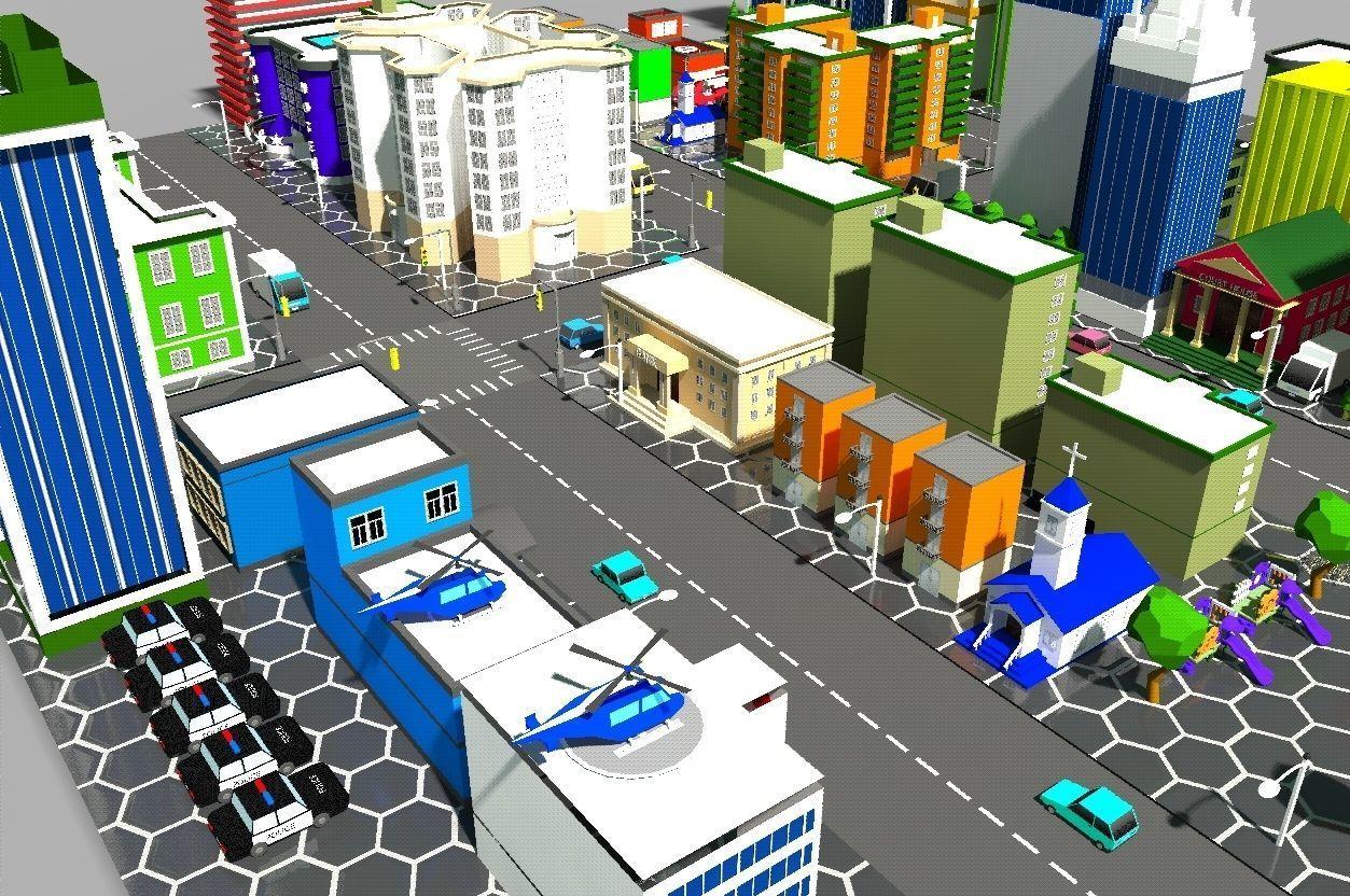 Low poly city | 3D model
